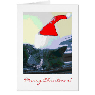Gato no papai noel chapéu, cartão de Natal