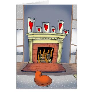 Gato pelo cartão do dia dos namorados do fogo
