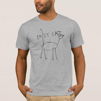 Gato perdido no cinza camiseta
