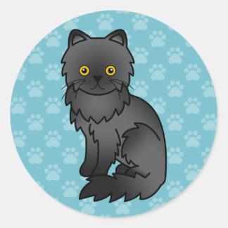 Gato persa preto adesivo redondo