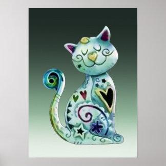 Gato pintado de sorriso com corações poster