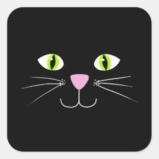 Gato preto adesivo quadrado