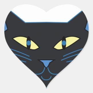 Gato preto adesivos em forma de corações