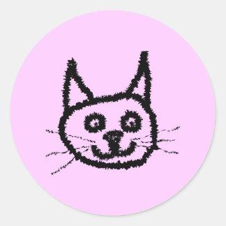 Gato preto adesivos em formato redondos
