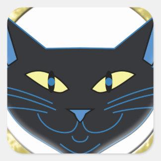 Gato preto adesivo em forma quadrada