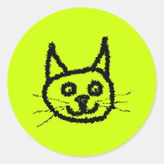Gato preto adesivos redondos