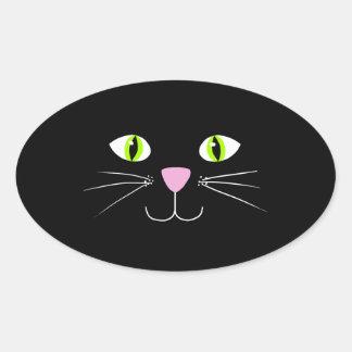 Gato preto adesivos em formato ovais