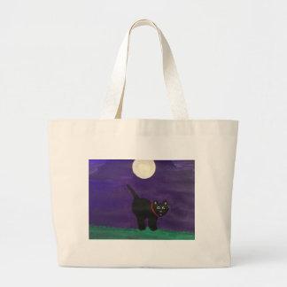 Gato preto bolsa tote grande