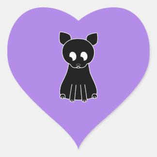 Gato preto bonito adesivo coração