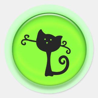 Gato preto bonito dos desenhos animados 3D Adesivo