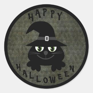 Gato preto bonito dos desenhos animados do Dia das Adesivo Redondo
