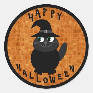 Gato preto bonito dos desenhos animados do Dia das Adesivos