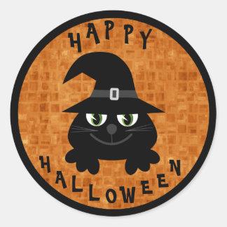 Gato preto bonito dos desenhos animados do Dia das Adesivo Em Formato Redondo