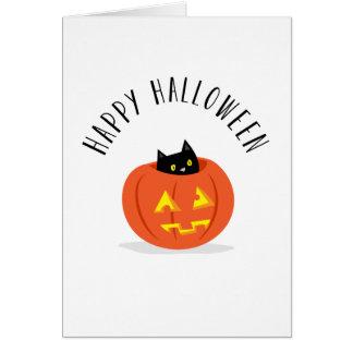 Gato preto bonito na lanterna o Dia das Bruxas Cartão Comemorativo