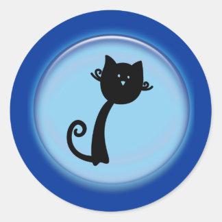 Gato preto bonito no design 3D azul Adesivo