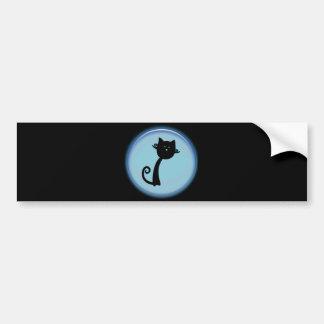 Gato preto bonito no design 3D azul Adesivo Para Carro
