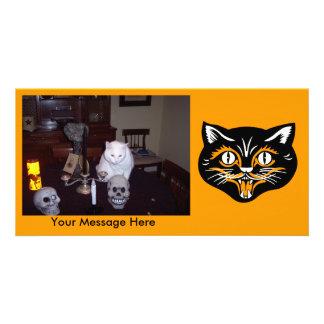 Gato preto clássico personalizado do Dia das Cartão Com Foto