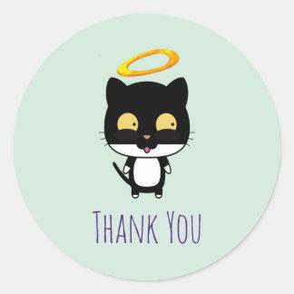 Gato preto com o obrigado bonito do anjo do halo adesivo