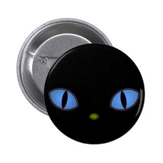 Gato preto com olhos azuis grandes pins