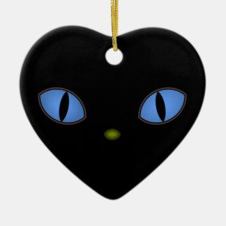 Gato preto com olhos azuis grandes ornamento de cerâmica coração