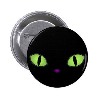 Gato preto com os olhos verdes grandes pins