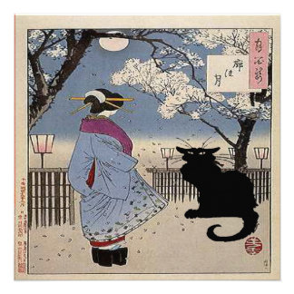 Gato preto com senhora japonesa convites