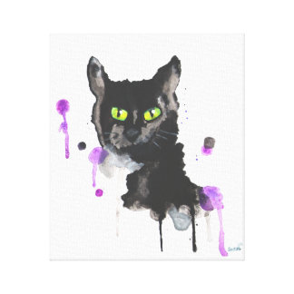 Gato preto da aguarela - impressão das canvas