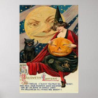 Gato preto da bruxa da lanterna de Jack O da abóbo Poster