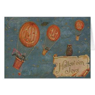 Gato preto da coruja do balão de ar quente da cartão comemorativo