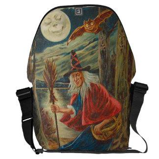 Gato preto da lua do bastão da bruxa bolsas mensageiro