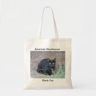 Gato preto de cabelos curtos americano sacola tote budget