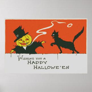 Gato preto de fumo da lanterna de Jack O do Poster