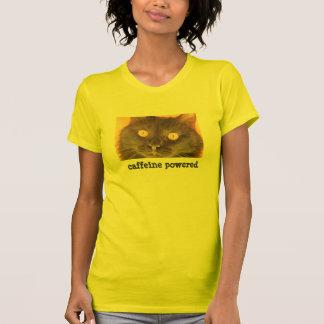 Gato preto de olhos bem abertos cafeína psta camisetas