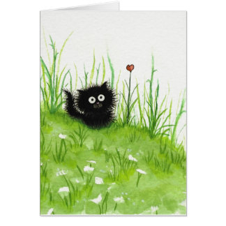 Gato preto distorcido pelo cartão vazio de Bihrle