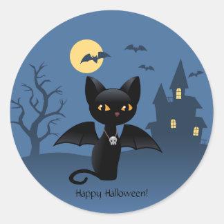 Gato preto do Dia das Bruxas com asas Adesivos Em Formato Redondos