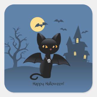 Gato preto do Dia das Bruxas com asas Adesivo Em Forma Quadrada