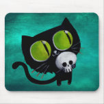 Gato preto do Dia das Bruxas com crânio Mouse Pad