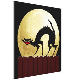 Gato preto do Dia das Bruxas com Lua cheia Impressão De Canvas Esticadas