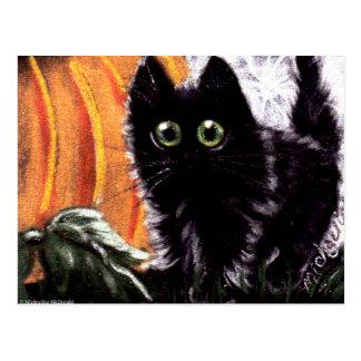 Gato preto do Dia das Bruxas que cartão do gato de