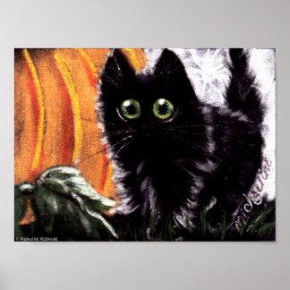 Gato preto do Dia das Bruxas que poster do gato de