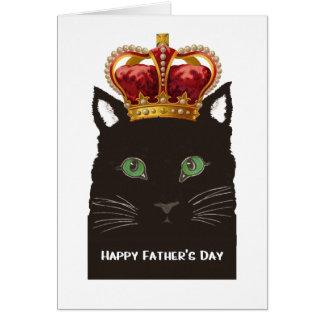 Gato preto do dia dos pais feliz que veste a coroa cartão comemorativo