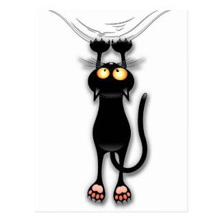 Gato preto do divertimento que cai para baixo cartão postal