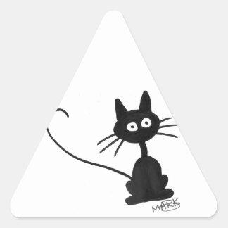 Gato preto dos desenhos animados adesivo triangular
