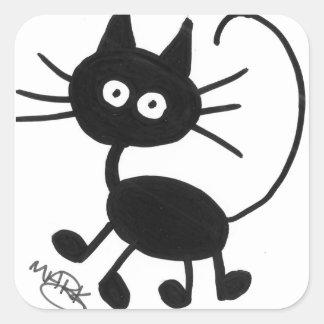 Gato preto dos desenhos animados adesivos quadrados