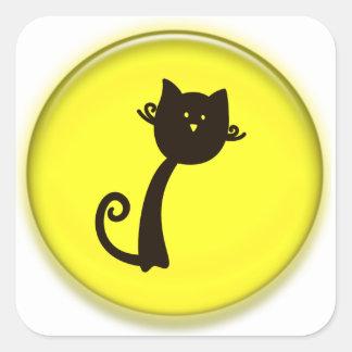 Gato preto dos desenhos animados bonitos adesivo quadrado