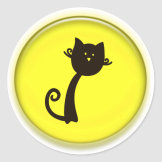 Gato preto dos desenhos animados bonitos adesivo