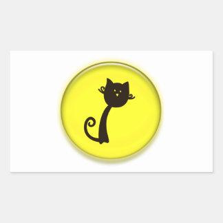Gato preto dos desenhos animados bonitos adesivos em forma retangular