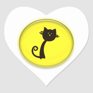 Gato preto dos desenhos animados bonitos adesivo de coração