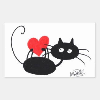 Gato preto dos desenhos animados e coração adesivo retangular