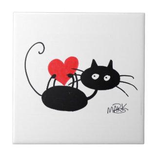 Gato preto dos desenhos animados e coração vermelh azulejos de cerâmica